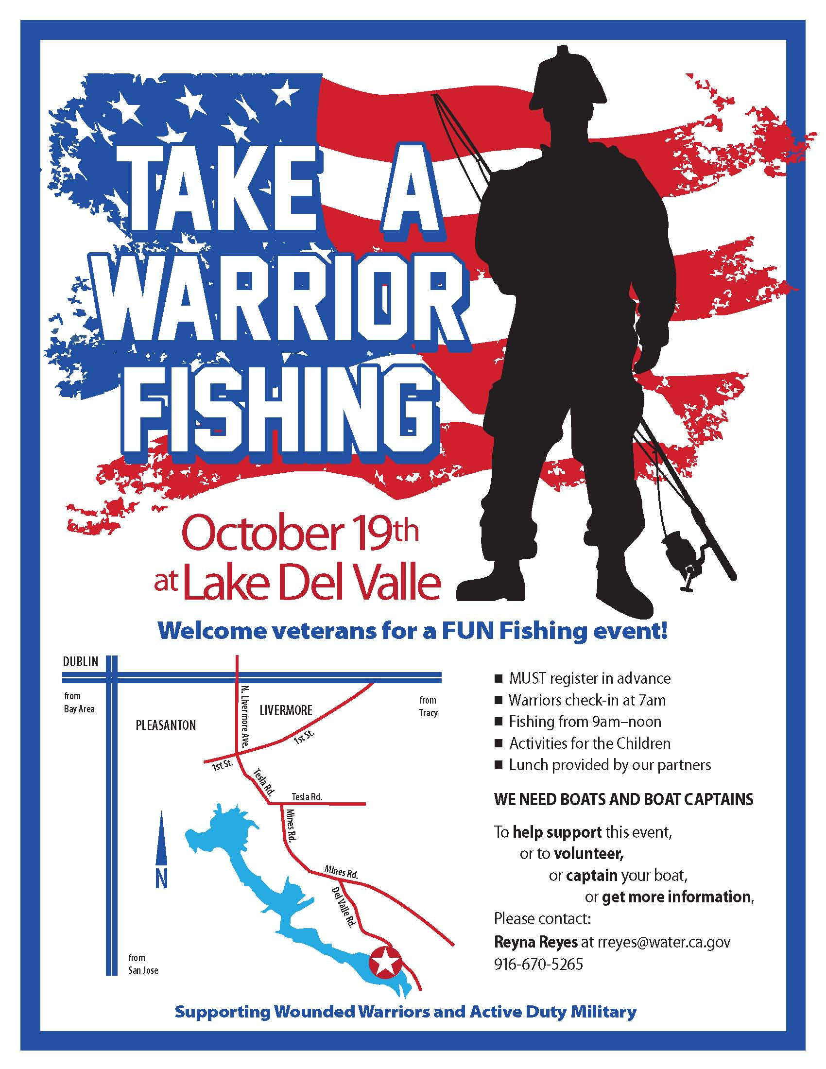 Take a warrior fishing hosted by california department for Take a vet fishing